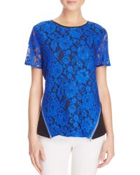 Dora Landa - Minni Zip Detail Lace Tee - 100% Bloomingdale's Exclusive - Lyst