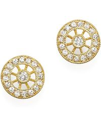 Meira T - 14k Yellow Gold Filigree Charm Stud Earrings With Diamonds - Lyst