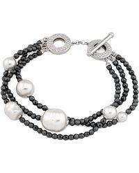 Majorica - Simulated Pearl Multi-strand Toggle Bracelet - Lyst