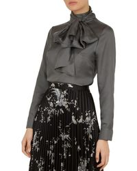 9ed15389844034 Ted Baker - Marther Ice Palace Tie-neck Silk Blouse - Lyst