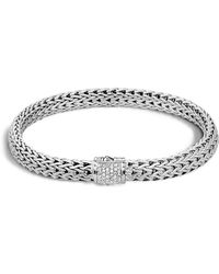 John Hardy - Classic Chain Sterling Silver Small Bracelet With Diamond Pavé - Lyst