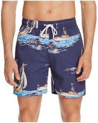 Brooks Brothers - Boat Print Swim Trunks - Lyst