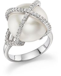 Tara Pearls - 18k White Gold X & O Natural Colour White South Sea Cultured Pearl And Diamond Ring - Lyst