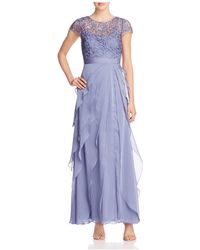Adrianna Papell - Petites Lace Top Tiered Gown - Lyst