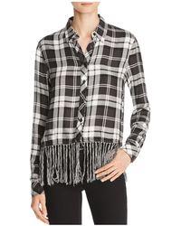 Aqua - Fringed Plaid Shirt - Lyst