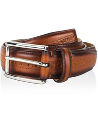 Cole Haan - Stitched Edge Belt With Brogue Detail - Lyst