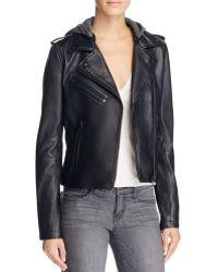 Linea Pelle - Hooded Leather Moto Jacket - Lyst