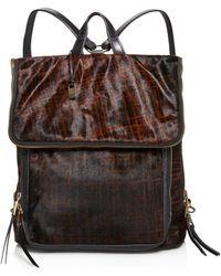 John Varvatos - Plaid Haircalf Fold Backpack - Lyst