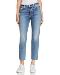 7 For All Mankind - Edie Cutoff Straight Jeans In Muse - Lyst