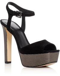 MICHAEL Michael Kors - Trish Metallic Embossed High Heel Platform Sandals - Lyst