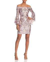 Aqua - Sequin Off-the-shoulder Dress - Lyst