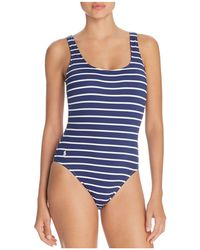 Ralph Lauren - Polo French Stripe Laced Back One Piece Swimsuit - Lyst