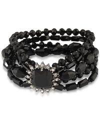 Carolee - Hematite-tone Jet Stone And Beaded Multi-layer Bracelet - Lyst