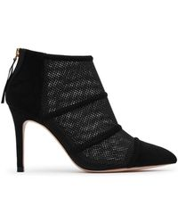 Reiss - Devon Mesh And Suede Pointed Toe High Heel Booties - Lyst