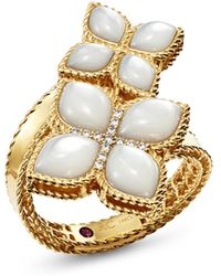 Roberto Coin - 18k Yellow Gold Venetian Princess Mother-of-pearl & Diamond Bypass Ring - Lyst