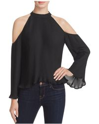 Lush - Pleated Cold Shoulder Top - Lyst