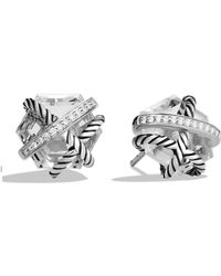 David Yurman - Cable Wrap Earrings With Crystal And Diamonds - Lyst