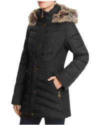 Anne Klein - Long Faux Fur Trim Hooded Jacket - Compare At $260 - Lyst