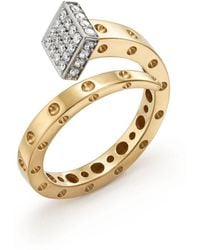 Roberto Coin - 18k Yellow And White Gold Pois Moi Chiodo Ring With Diamonds - Lyst