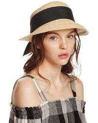 Aqua - Straw Cloche Hat With Bow Back - Lyst