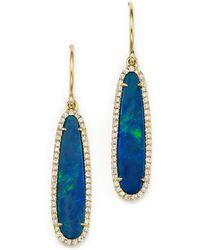 Meira T - 14k Yellow Gold Opal Earrings With Diamonds - Lyst