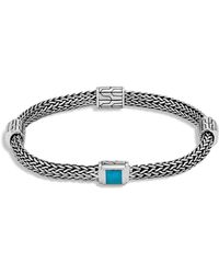 John Hardy - Sterling Silver Classic Chain Extra Small Four Station Bracelet With Turquoise - Lyst