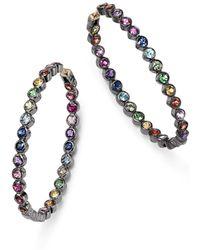 Shebee - Blackened Sterling Silver & Multicolour Sapphire Inside-out Oval Hoop Earrings - Lyst