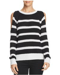 Aqua - Striped Open-back Cold-shoulder Sweater - Lyst