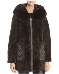 Maximilian | Hooded Lamb Shearling Coat | Lyst