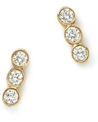 Zoe Chicco - 14k Yellow Gold And Diamond Bezel-set Trio Earrings - Lyst