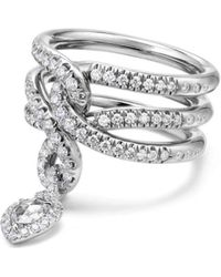 David Yurman - Continuance Drop Ring With Diamonds In 18k Gold - Lyst