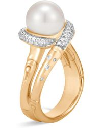 John Hardy - 18k Yellow Gold Bamboo Pavé Diamond And Cultured Freshwater Pearl Ring - Lyst