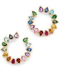 Shebee - 14k Yellow Gold Multicolour Sapphire & Mixed Gemstone Circle Loop Earrings - Lyst