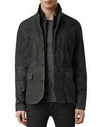 AllSaints - Survey Slim Fit Leather Blazer - Lyst