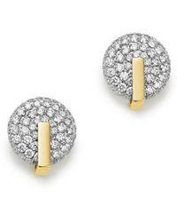 Roberto Coin - 18k Yellow & White Gold Diamond Disc Earrings - Lyst