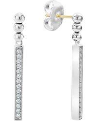 Lagos - Sterling Silver Caviar Spark Diamond Drop Earrings - Lyst