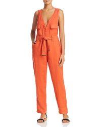 Donna Karan - Belted Linen Jumpsuit - Lyst