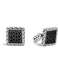 John Hardy - Classic Chain Sterling Silver Enamel Square Cufflinks With Transparent Grey Enamel - Lyst