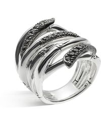 John Hardy - Women's Sterling Silver Bamboo Lava Extra Wide Ring With Black Sapphires - Lyst