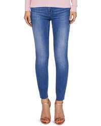 Ted Baker - Aaciee Raw-hem Skinny Jeans In Mid Wash - Lyst