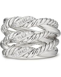David Yurman - Continuance Three-row Ring With Diamonds - Lyst