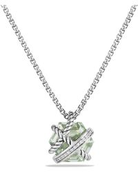 David Yurman - Petite Cable Wrap Necklace With Prasiolite And Diamonds - Lyst