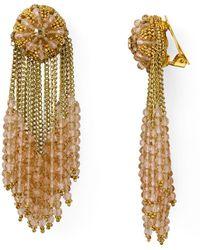 Oscar de la Renta - Beaded Clip-on Drop Earrings - Lyst