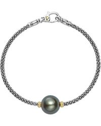 Lagos - 18k Gold And Sterling Silver Luna Cultured Freshwater Black Pearl Single Station Bracelet - Lyst