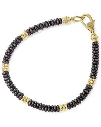 Lagos - Gold & Black Caviar Collection 18k Gold & Ceramic Rope Bracelet - Lyst