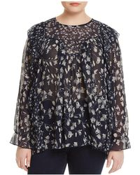 Lucky Brand - Sheer Floral-print Ruffle Top - Lyst