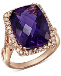 Bloomingdale's - Amethyst Cushion & Diamond Statement Ring In 14k Rose Gold - Lyst