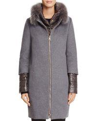 Herno - Fox Fur Trim Cashmere Coat - Lyst
