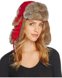 6e9d883e90a Bloomingdale s · Crown Cap - Rabbit Fur Aviator Hat - Lyst