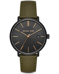163e3e13c862 Michael Kors - Blake Three-hand Stainless Steel Green Leather Strap Watch -  Olive -